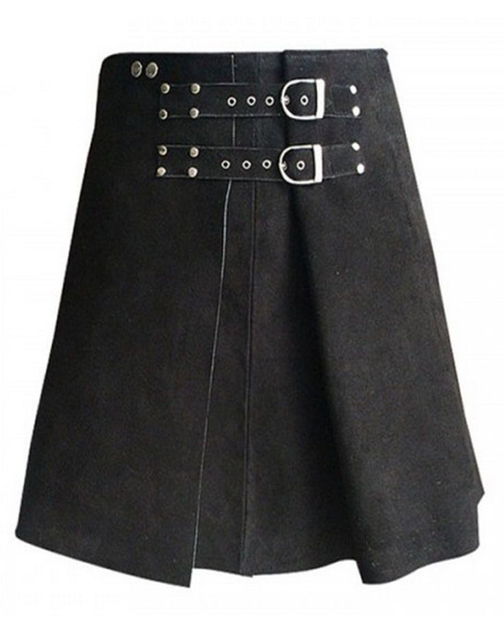 The Roman Gladiator Warrior Leather Kilt is a new twist on the classic combat kilt once worn on battlefields. Handmade from the finest of sueded lambskin leather, the kilt has a box pleated front secured by two thin straps outfitted with silver-toned studs, grommets and decorative D-shaped buckles. Two additional silver studs are added to the waistband to complement the look of the belts.#Romankilt #Warrior Kilt