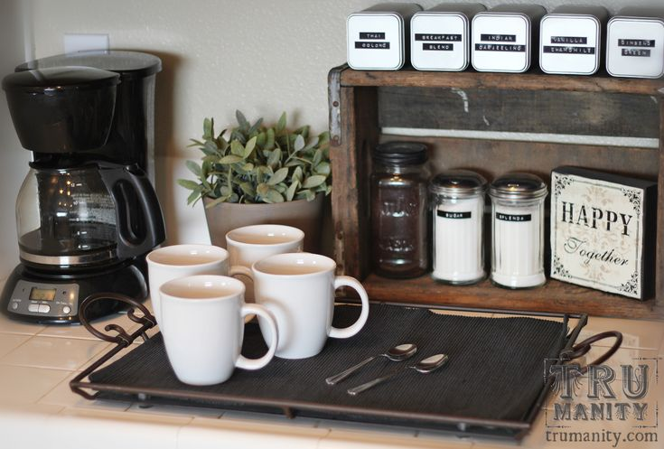 Coffee corner. maybe if I don't make a coffee bar soon ill do this!