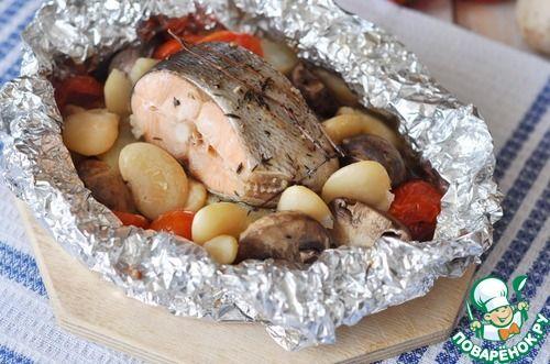 Лосось, запеченный с фасолью и овощами - кулинарный рецепт