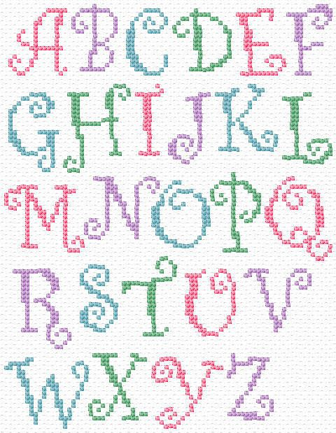 CURLY ALPHABET (Cross-stitch chart). Would be fun to make a pillow of each granddaughter name with these letters.
