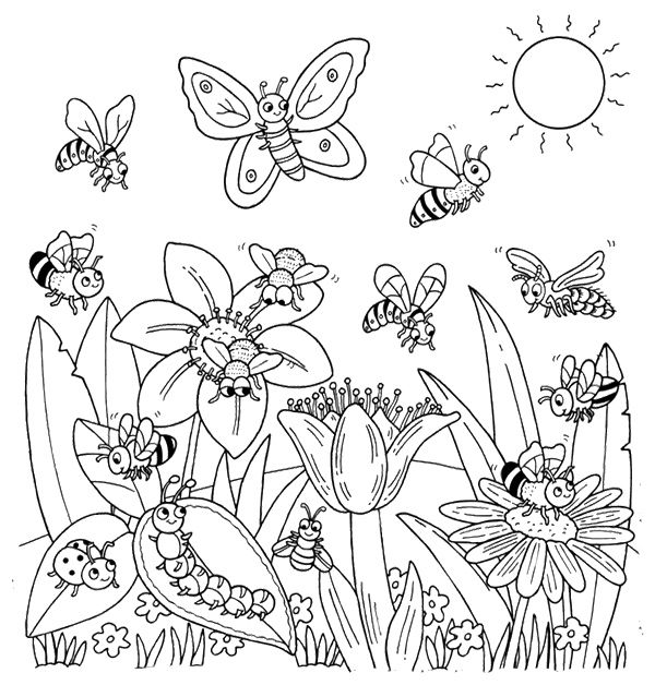 Happy Animal To Spring Flower Coloring Page For