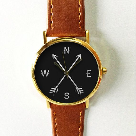 Cardinal Directions Arrow Watch , Vintage Style Leather Watch, Women Watches, Boyfriend Watch, World Map, Men's Watch,  Black North South