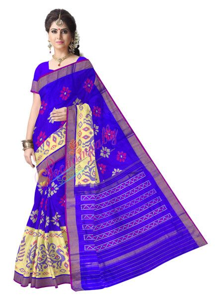 ikat scut border royal blue color saree