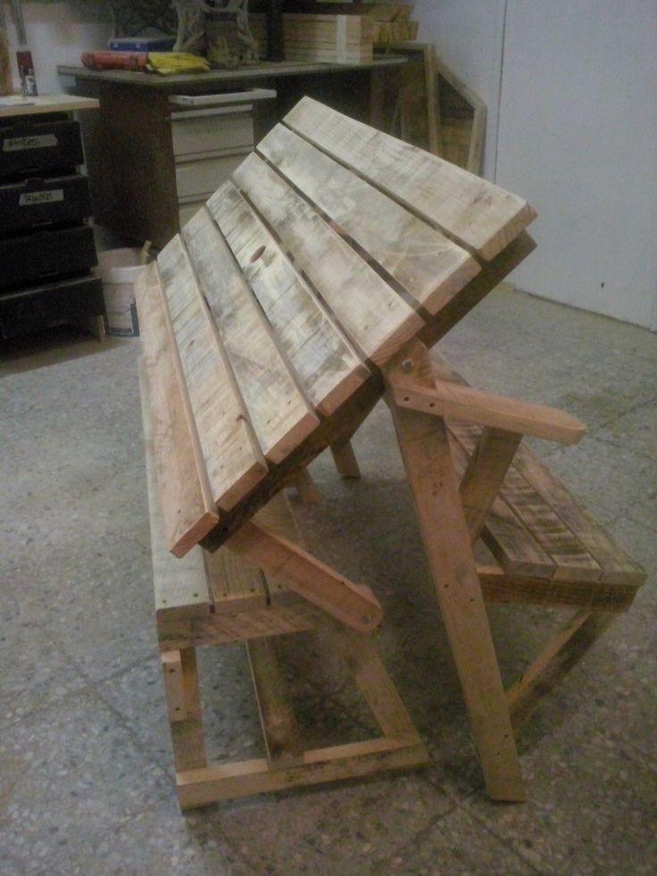 Banqueta mesa realizada con maderas de palets usados for Banquitas de madera para jardin