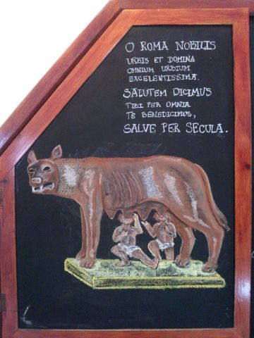 Age 12 ~ Roman History ~ Romulus and Remus ~ chalkboard drawing