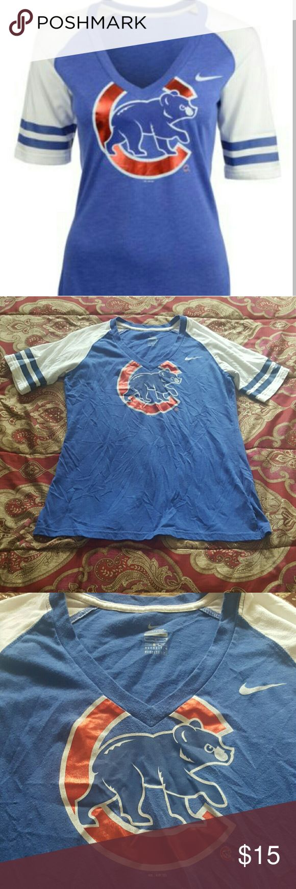 Womens Nike Cubs T shirt Lets celebrate the cubs! Cute t shirt with Cicago Cubs logo In great condition from NIKE Nike Tops