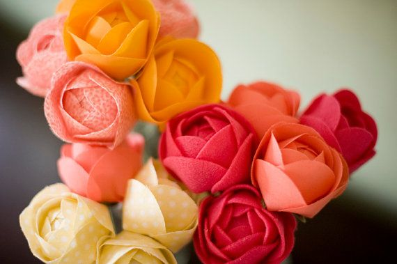 Set of 3 fabric flowers - handmade for home decor, Mother's day flowers, Anniversary flowers