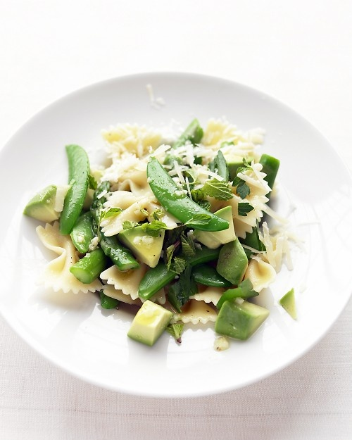 YUM!!  Asparagus, snap pea, and avocado pasta.