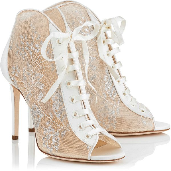 White Lace and Satin Ivory Peep Toe Booties FREYA 100 ($995) ❤ liked on Polyvore featuring shoes, satin shoes, peep-toe shoes, jimmy choo shoes, lacy shoes and white satin shoes
