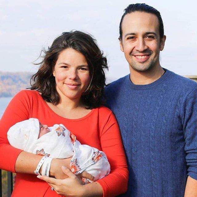 Vanessa Nadal and Lin-Manuel Miranda after the birth of their son Sebastian. 11/10/14
