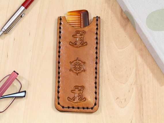 Anchor and Ships Wheel leather comb case by Tina's Leather Crafts on Etsy.com. Repin To Remember.