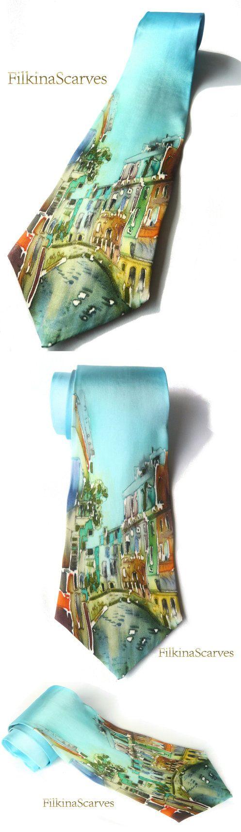 Urban drawing Silk Necktie Silk Painting Mens by FilkinaScarves