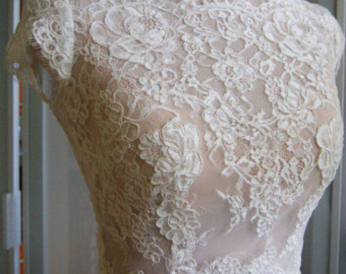Bruiloft boven, bolero, jasje van kant, mouwen korte voorkant van een volledige, alencon. Romantiek, bruids bolero KSENIA