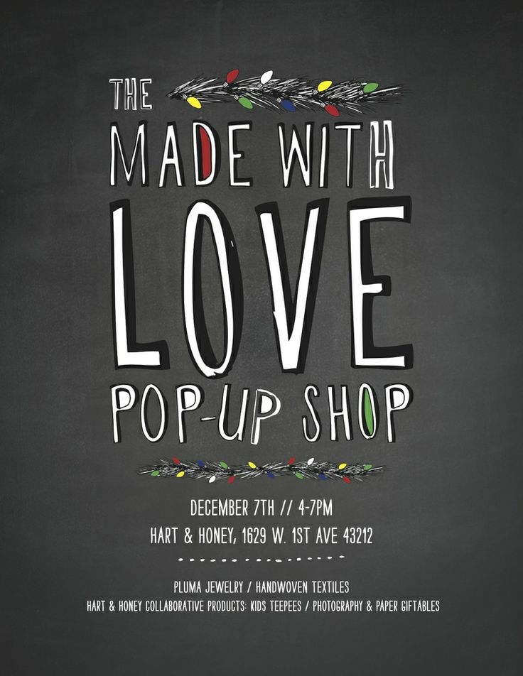 Hart and Honey Made with Love pop up shop // Christmas pop up shop Dec 7th 4-7pm