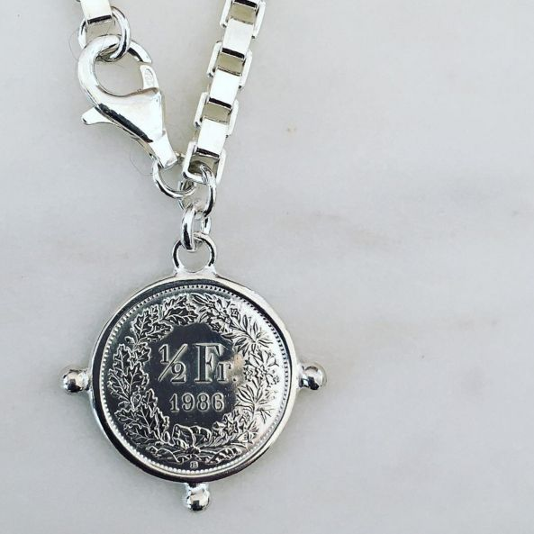 Box Chain Bracelet with Coin  www.gmssilver.com