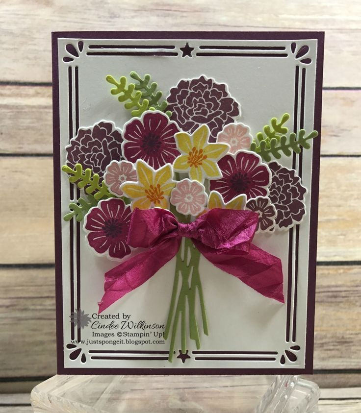 """Beautiful Bouquet Card or Gift Bag Tag? – Just Sponge It! 5/8"""" Crinkled Seam Binding Ribbon, At Home with You, Beautiful Bouqet Bundle, Big Shot, Card Front Builder Thinlits, Clear Wink of Stella, DIY, Stampin' Up! All Occasion Cards"""