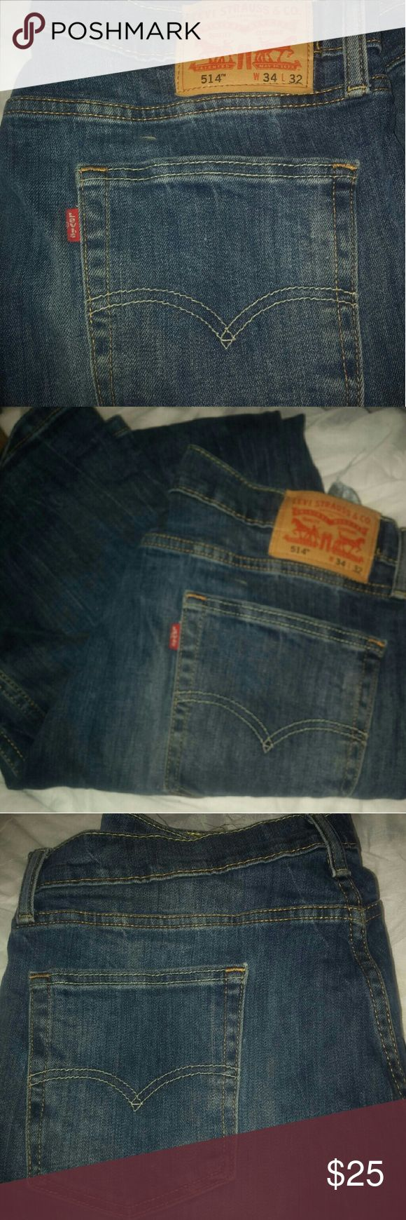 Levis 514 Worn one time levi 514 in 34w 32L .in stone wash blue color Levi's Jeans Bootcut
