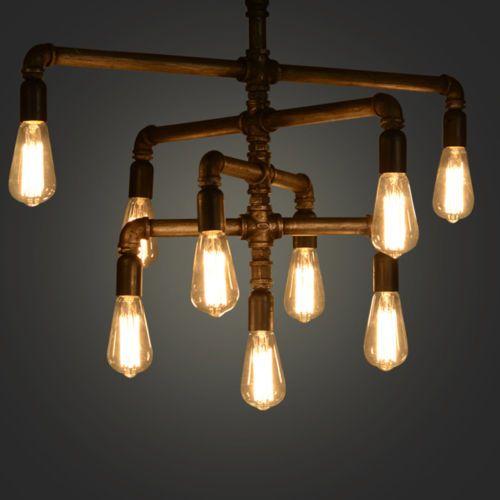 Industrial-LOFT-IRON-PIPE-Ceiling-Pendant-Light-Chandelier-Edison-Vintage-Bulbs