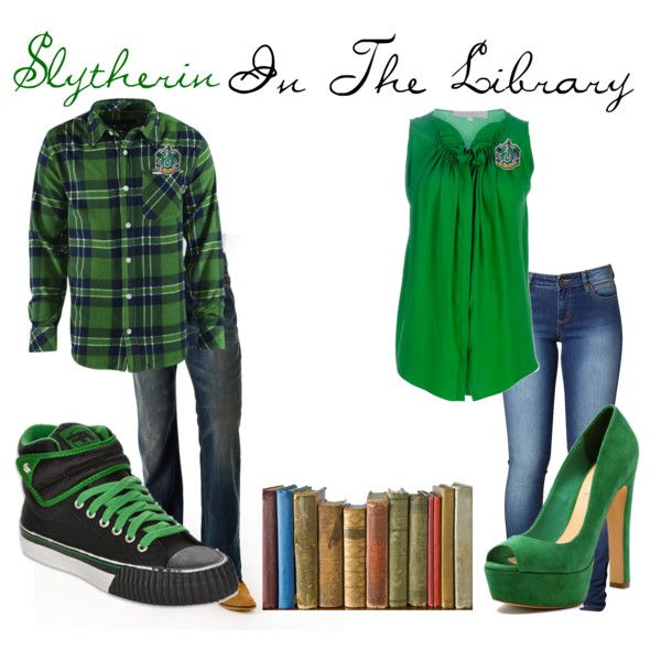 Slytherin In The Library, created by nearlysamantha on Polyvore