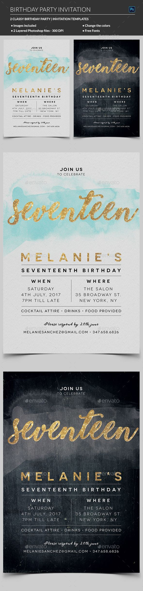 design birthday party invitations free%0A Elegant Birthday Invitation