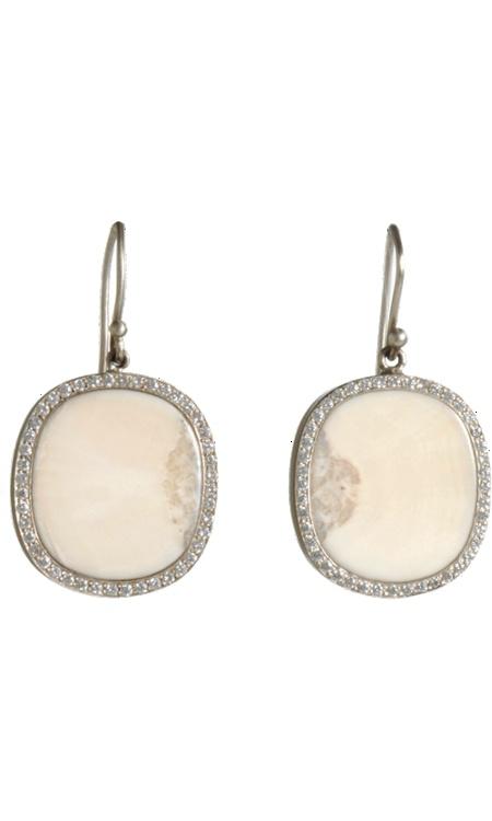 Monique Péan Olanna Fossilized Walrus Ivory & Diamond Earrings