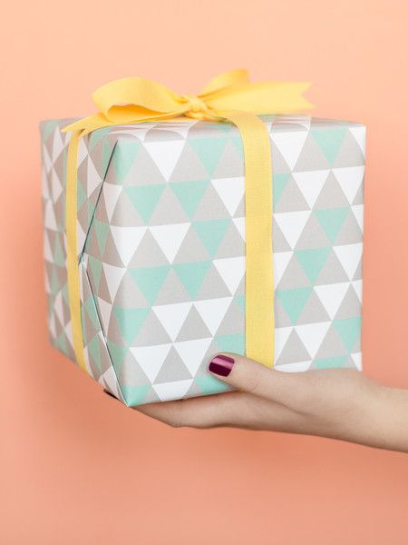 "Triangles Gift Wrap | Sycamore Street Press — Size: 19"" x 27"". 3 sheets per roll. Printed with 100% wind power and sustainable materials. Designed by Stephanie Ford for Sycamore Street Press. Made in the USA."