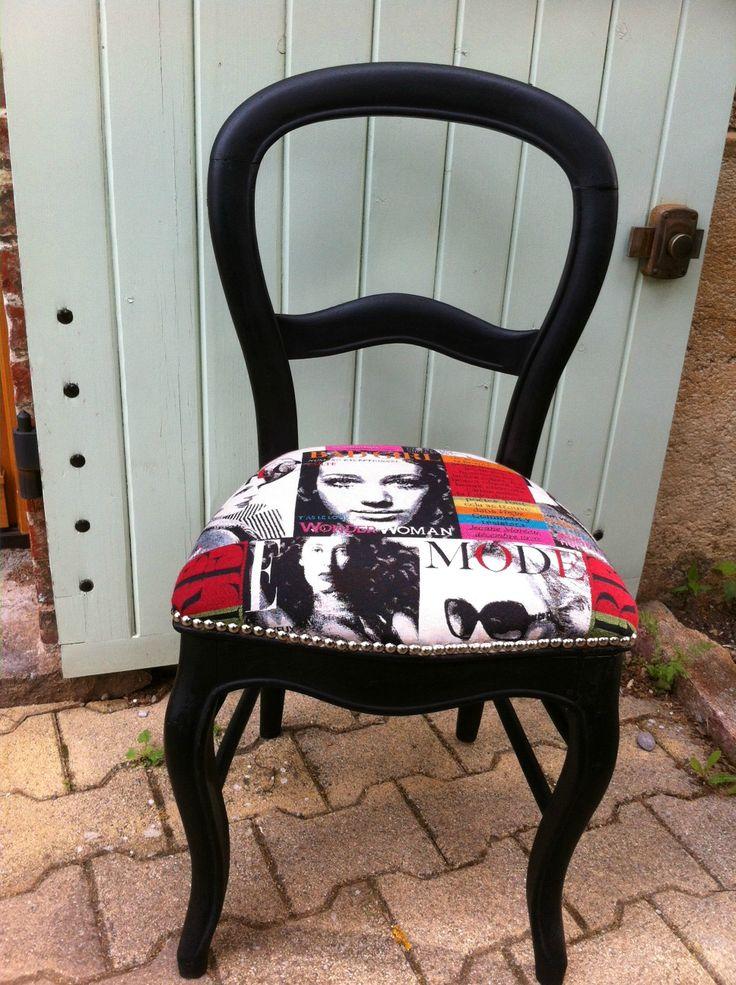 17 meilleures id es propos de chaises refaite sur pinterest refaire les m - Recouvrir des chaises ...