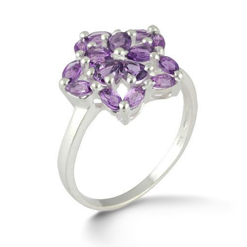 Purity 925 Sterling Silver Ring Semi Preciouse Amethyst Gemstone Jewelry SZ 9 #Rinnga