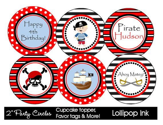 PIRATE  Printable Party Circles DIY Personalized by LollipopInk, $10.00Kids Parties, Pirates Printables, Birthday Parties, Pirates Parties, Cupcakes Toppers, Pirates Cupcakes, Printables Parties, Cupcakes Rosa-Choqu, Cupcake Toppers