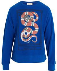 e44687a87c7 Gucci - Cotton Sweatshirt With Kingsnake Print - Lyst