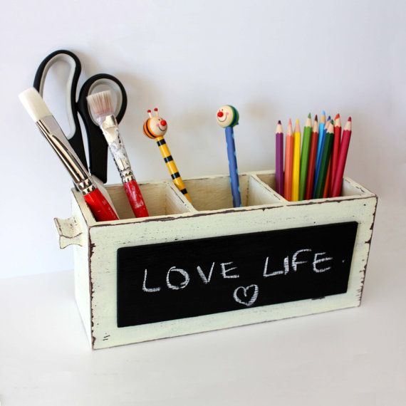 Ivory - Brown Desk Organizer - Shabby Pencil Holder with  Chalkboard -Home Decor- Office Gift on Etsy, $23.10