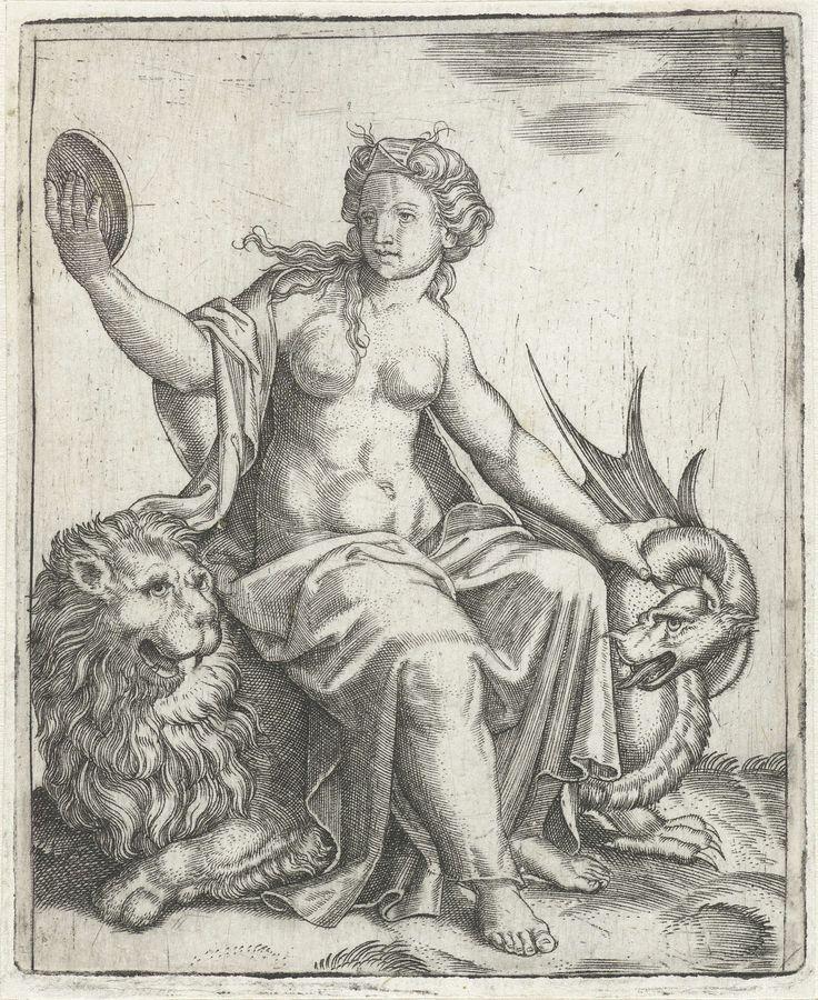 Marcantonio Raimondi | Voorzichtigheid (Prudentia) met spiegel zittend op leeuw houdt een draak in bedwang, Marcantonio Raimondi, Anonymous, 1510 - 1575 | Jonge vrouw als personificatie van de Voorzichtigheid (Prudentia) zittend op de rug van een leeuw terwijl zij in een spiegel kijkt en een draak bij de nek vasthoudt.