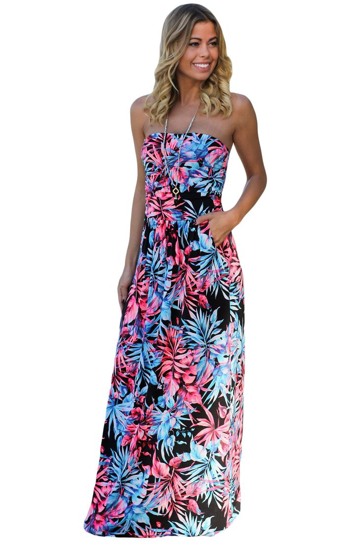 Chicloth Black Neon Pink Tropical Strapless Maxi Dress with Pockets