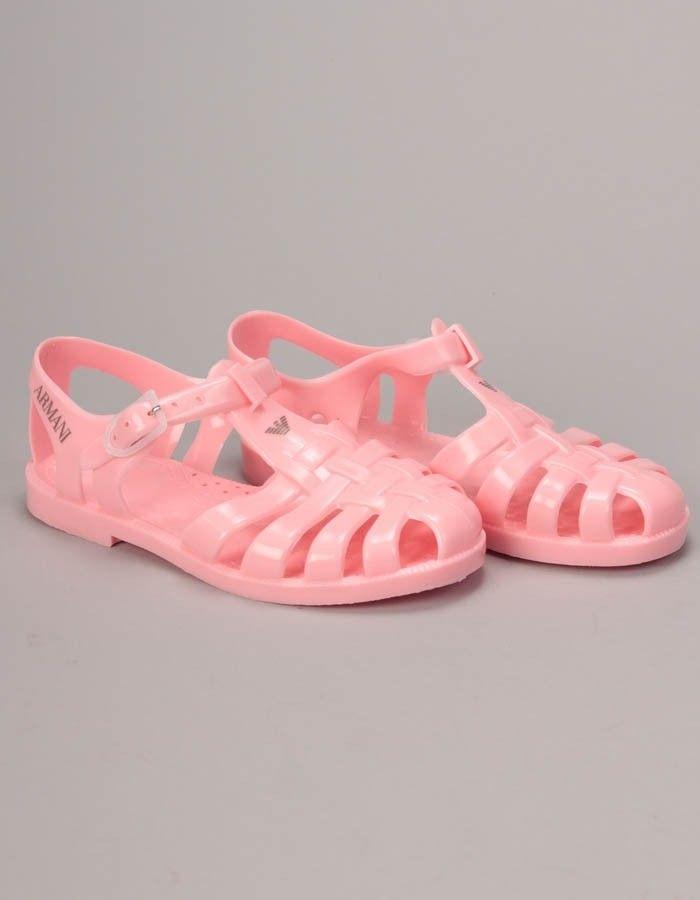 Armani Junior Pink Logo Sandals | Accent Clothing