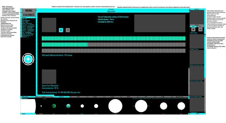 Raaka luonnos Pioneer Universum : Domination:n käyttöliittymän siirtokuntanäkymän perusasetelma tietoineen (keskeneräinen), Raw sketch of Pioneer Universum : Domination's basic layout of interface, colony view with data (incomplete). Elli duunais näihin noit siirtokuntanäkymii (TF:llä valkoisia rakennuksia kuviin, futuristisia domeja yms. kans), joissa samoja maisemia kuin Pioneer Universum-sarjassa ja leffoissa, lisäksi Stellar Object:t : tähtisumut, mustat aukot, jne. galview:n…