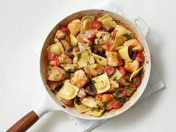 Skillet Chicken and Ravioli Recipe : Food Network Kitchens : Food Network - FoodNetwork.com