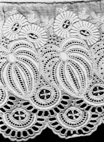 """#Broderie anglaise  (French) or """"English Embroidery""""  (in Dutch: Engels kant) is a """"whitework needlework"""" technique incorporating features of embroidery, cutwork and needle lace that arose in England in the 19th century. White-work embroidery is one of the techniques employed in heirloom sewing for blouses, christening gowns, baby bonnets, and other small articles."""