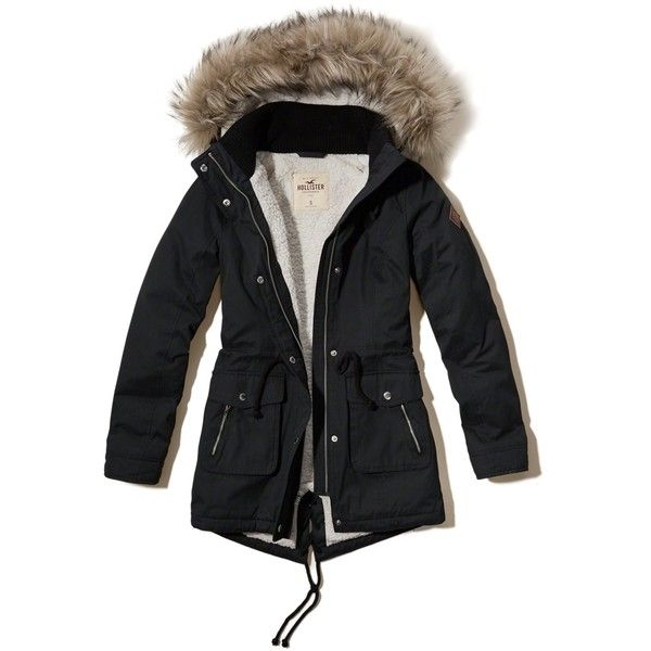 Hollister Sherpa Lined Parka ($140) ❤ liked on Polyvore featuring outerwear, coats, black, parka coats, cinch coats, fur-lined parkas, fur coat and zip coat
