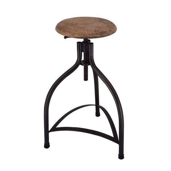 cooper vintage solid oak u0026 metal adjustable bar stool 34 inch