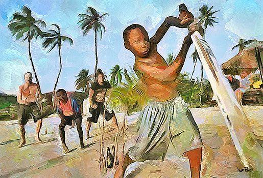 Wayne Pascall - Caribbean Scenes - Cricket On De Beach