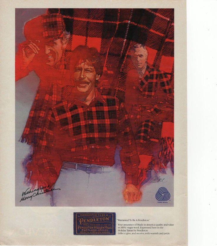pendleton woolen mills christmas plaid tartan 1983 Magazine Ad | eBay