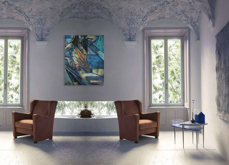 Orange Italian armchair,  and contemporary painting of a woman - 'Summertime 2' by @anialuk_art