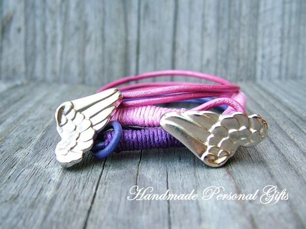 Bracelets & Bangles – Bracelet leather, wrap bracelet, purple, Wing ★ 2x – a unique product by HandmadePersonalGifts on DaWanda