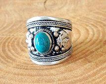 Bague Tibetaine argentée en Turquoise - Bague Amulette - Ajustable - Hippie Chic - Boheme - Bijou Ethnique