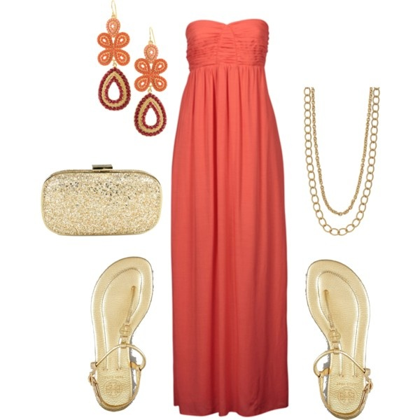 Summer anyday! Cute and comfortable!Fashion, Style, Coral Accessories, Coral Maxis Dresses, Coombsie24, Date Nights, Polyvore, Gold, Date Night Outfits