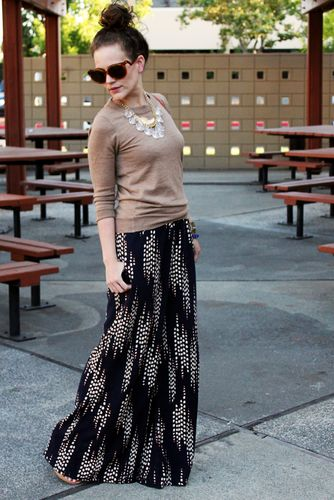 Maxi skirt and lightweight sweater. Perfect for fall.