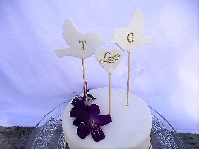 Wedding Cake Topper Love Birds by MYMIMISTAR on Etsy