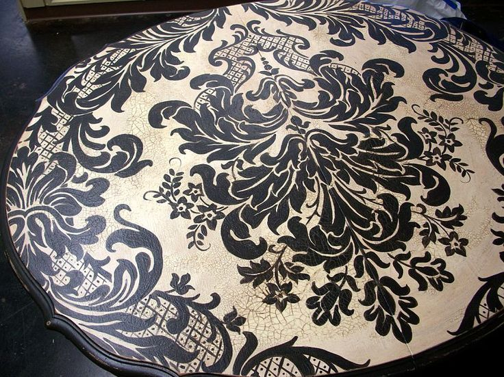 #painted Table..decoupage Table Top With A Black And White Damask Wallpaper
