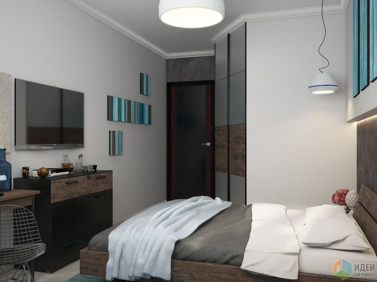 Интерьер спальни, серо-голубая спальня