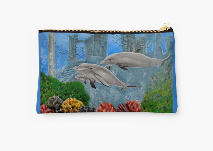 Studio Pouch,  cool,beautiful,fancy,unique,trendy,artistic,awesome,fahionable,unusual,accessories,for sale,design,items,products,gifts,presents,ideas,carry all pouch,aqua,blue,dolphins,redbubble